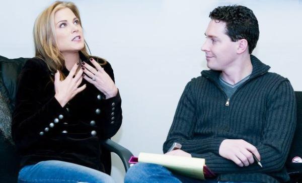 Dan interviewing Emmy winner Gina Tognoni (ex-Dinah, Guiding Light; ex-Kelly Cramer, One Life to Live)