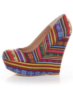 steve madden pammyy bright multi stripe fabric platform wedges