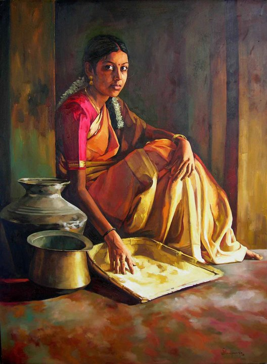 Paintings of rural indian women - Oil painting (10)-1