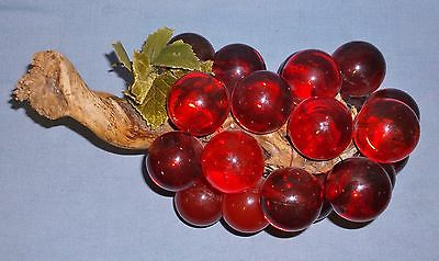 Vintage-Red-Lucite-Grape-Cluster-Clear-Opaque