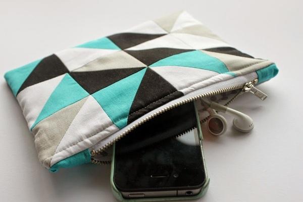 geometric zip pouch