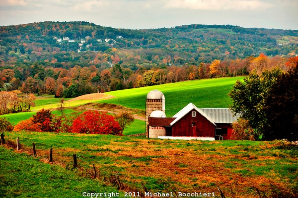WARWICK, NY - October 14:  A barn and silo sits in front of a mountain in a field at Ochs Orchard on October 14, 2011 in WARWICK, NY.  (Photo by Michael Bocchieri/Bocchieri Archive)