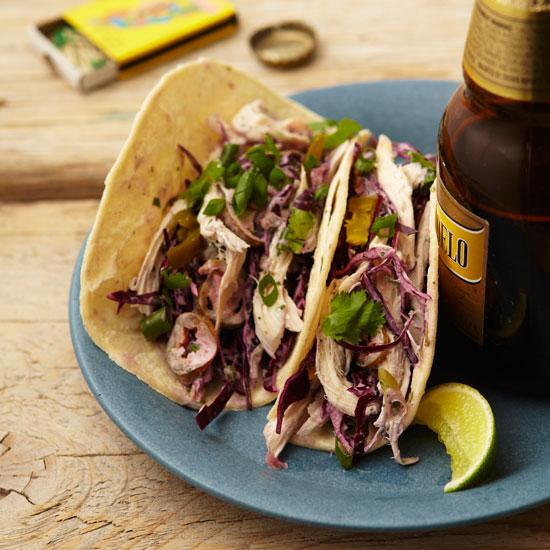 Chicken and Cabbage Tacos with Cilantro Cream